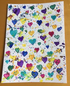 Hearts with Colorful Paint Splatters Watercolor Paint Markers
