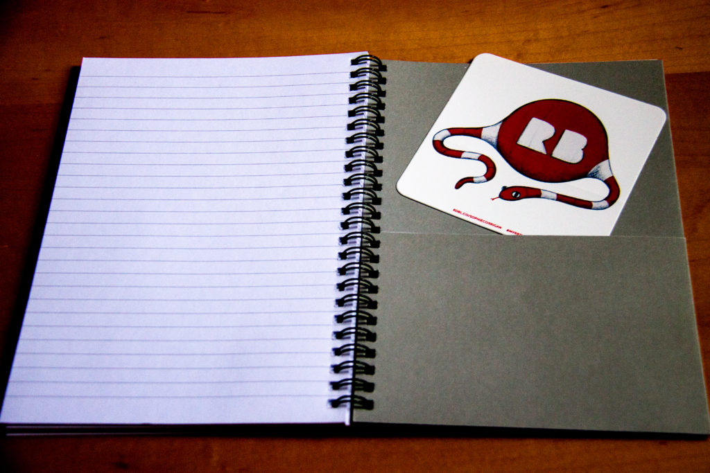 Redbubble notebook inside (with folder and RB snake sticker by Sophie Corrigan